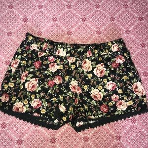 Floral Shorts with Black Lace Trim